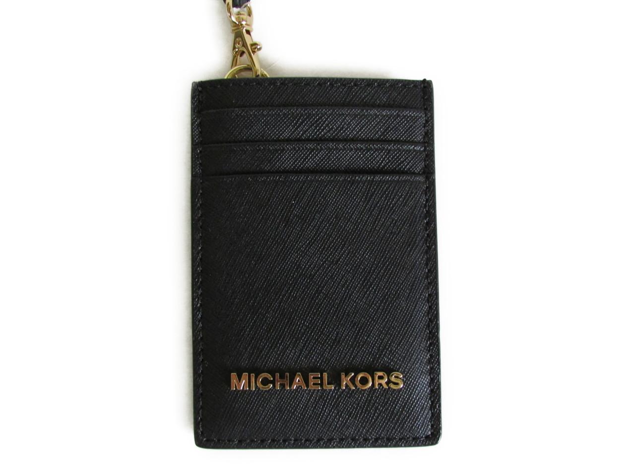 【スペシャル】マイケルコース IDケース ジェット セット MICHAEL Michael Kors JET SET TRAVEL Lanyard ID Card Case black 35T7GTVD5L [並行輸入品]