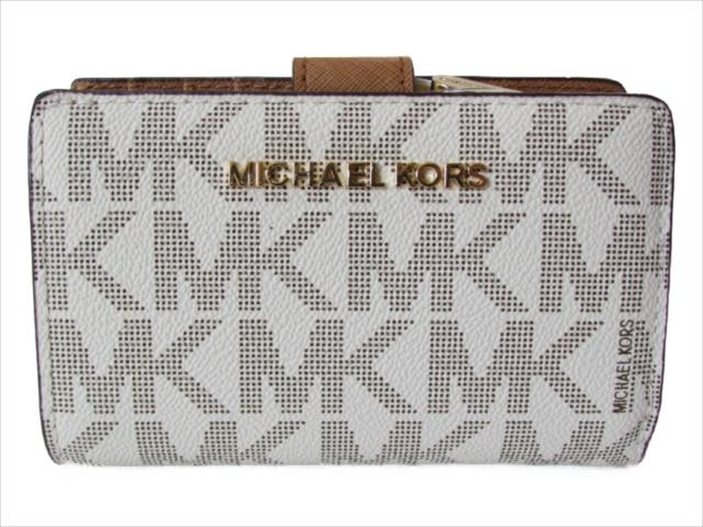 【スペシャル】[マイケルコース] 折りたたみ財布 MICHAEL Michael Kors JET SET TRAVEL BIFLD ZIP COIN WALLET vanilla/acrn 35F7GTVF2B