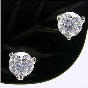 ダイヤモンドスタッドピアス ダイヤモンド プラチナ 0.4ct×2 Gカラー VVS1 3EX H&C 鑑定書付