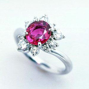プラチナ ピンクサファイア 1.63ct ダイヤモンド 0.569ct リング