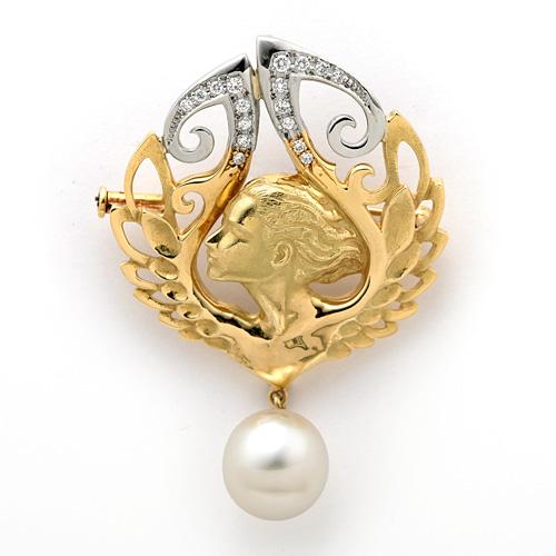 南洋パールダイヤモンドブローチ K18/Pt900 南洋真珠 10.4mm ダイヤモンド 0.21ct