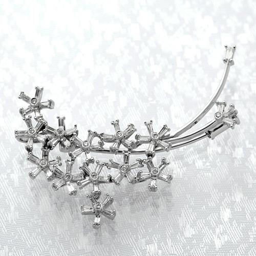 K18WG ダイヤモンド入りブローチ ダイヤモンド 1.25ct