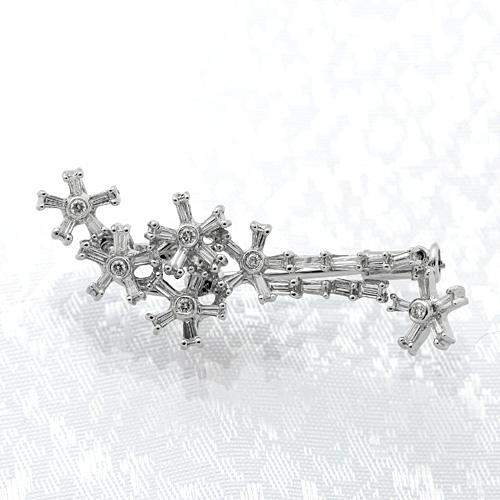 K18WG ダイヤモンド入りブローチ ダイヤモンド 0.68ct