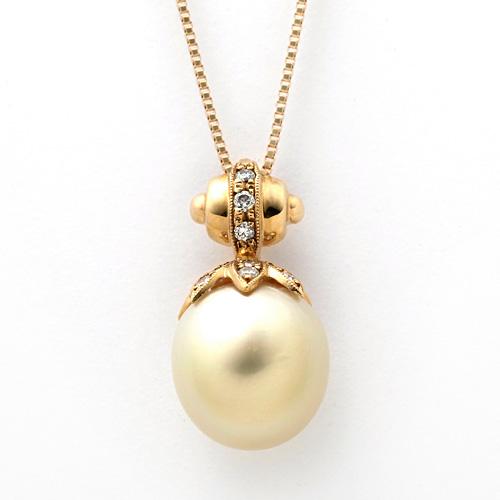 K18 南洋白真珠 10.7mm ダイヤモンド 0.11ct ネックレス