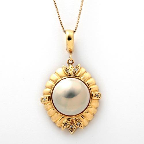 K18 マベ真珠 ダイヤモンド 0.05ct ネックレス