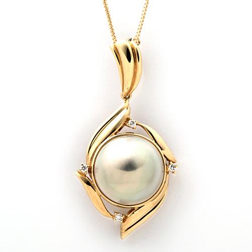 K18 マベ真珠 ダイヤモンド 0.09ct ネックレス