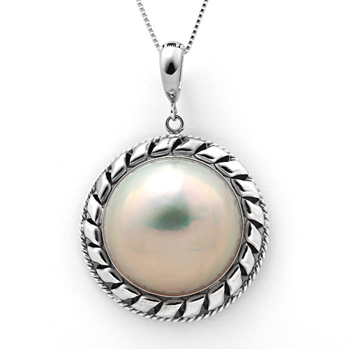 K14WG マベ真珠 ダイヤモンド 0.04ct ネックレス