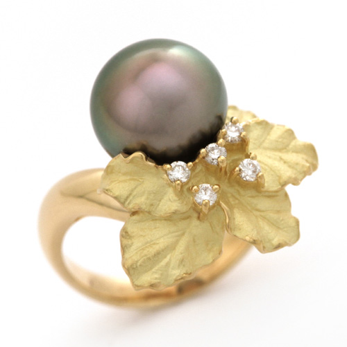 パールリング K18 南洋黒真珠 10.1mm ダイヤモンド 0.10ct