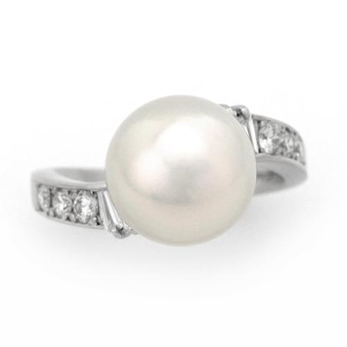 パールリング プラチナ 南洋真珠 10.95mm ダイヤモンド 0.39ct
