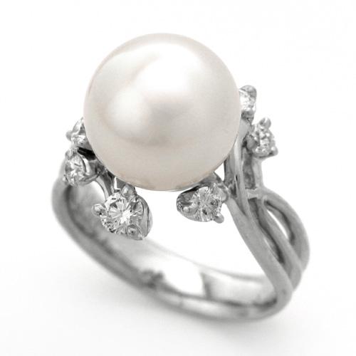 ミャンマーホワイトパールリング プラチナ 南洋真珠 10.95mm ダイヤモンド 0.368ct
