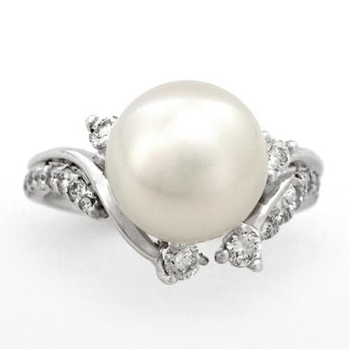パールリング プラチナ 南洋真珠 10.35mm ダイヤモンド 0.392ct