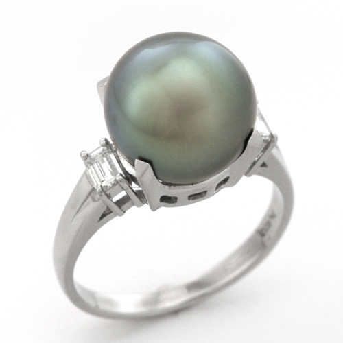 高い品質 パールリング プラチナ 南洋黒真珠 11.4mm ダイヤモンド 0.26ct, クマトリチョウ d7cb763f