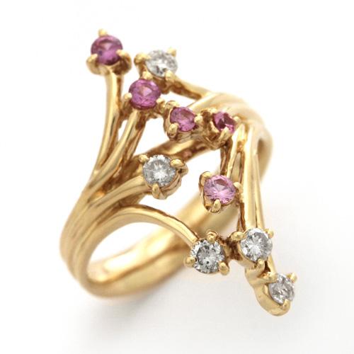 ピンクサファイアリング K18 ピンクサファイア 0.315ct ダイヤモンド 0.352ct