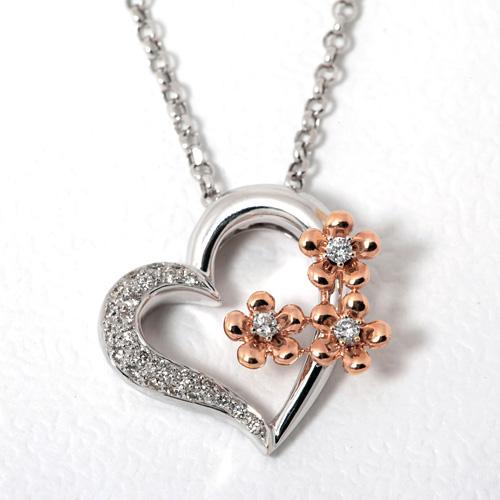 ダイヤモンドネックレス K18WG/PG ダイヤモンド 0.34ct
