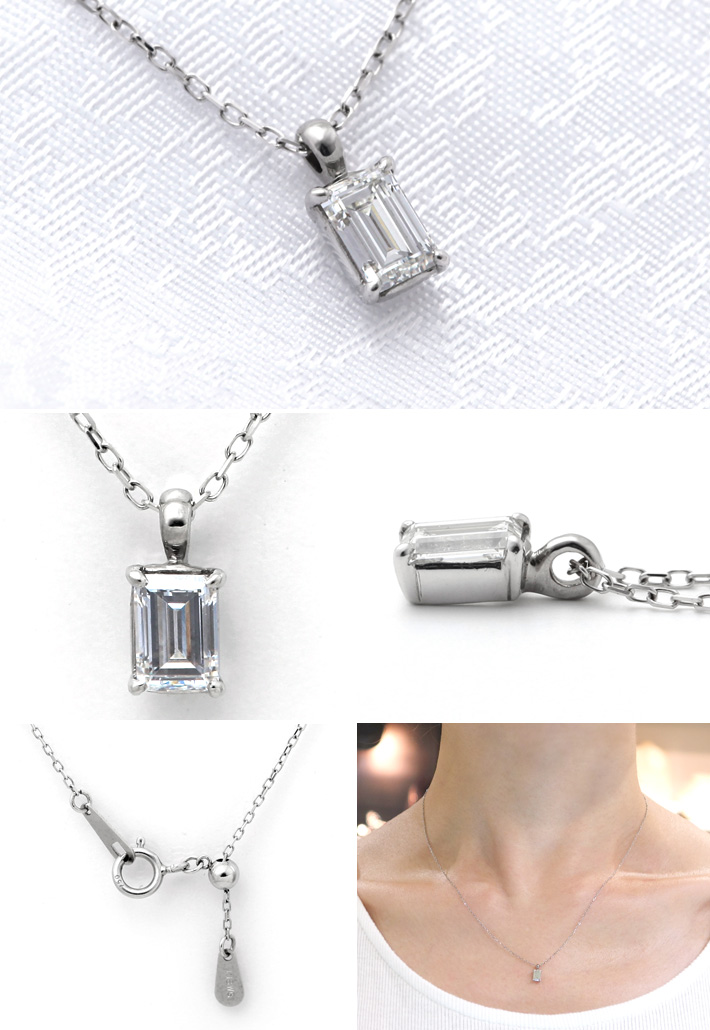 K18WGバゲットカットダイヤモンドペンダントネックレスGqSUzpLMV