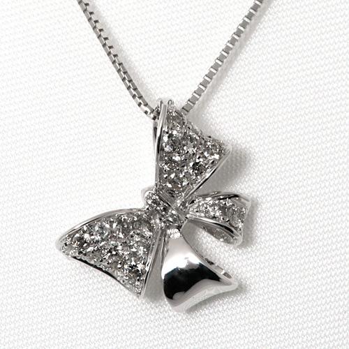 K18WG ダイヤモンド 0.40ct ネックレス リボンモチーフ