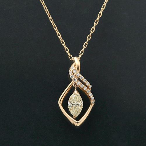 K18 マーキス ダイヤモンド ベリーライトイエロー SI1 0.588ct ダイヤモンド 0.15ct ネックレス