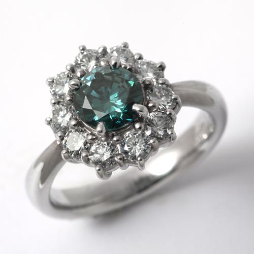 プラチナ ファンシー ディープ ブルー グリーン ダイヤモンド 1.009ct SI2 0.87ct リング CGL鑑定書付