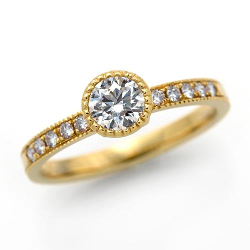 ダイヤモンドリング K18 ダイヤモンド H SI2 3EX H&C 0.420ct , 0.120ct