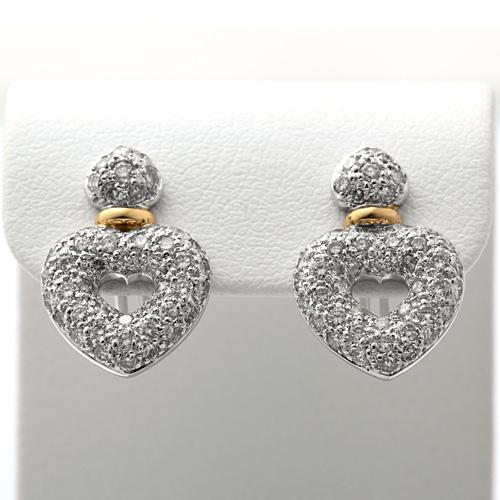 ダイヤモンドピアス K18WG/K18 ダイヤモンド 1.30ct