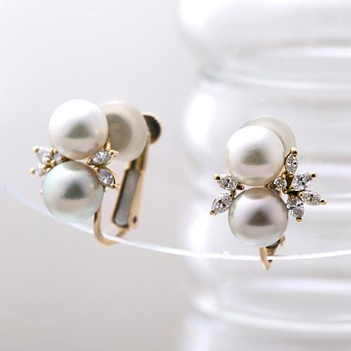 K18 アコヤ真珠 ダイヤモンド入り イヤリング K18 アコヤ真珠 ダイヤモンド 0.58ct
