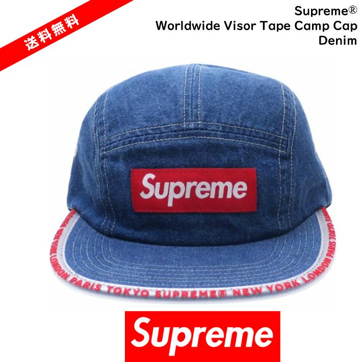 【国内正規品】Supreme(シュプリーム)Supreme - Worldwide Visor Tape Camp Cap Denim シュプリーム シュプリーム デニム サイズ FREESupreme 2019 SS Supreme 19SS 【中古】【新古品 未使用品】【半タグ付き】