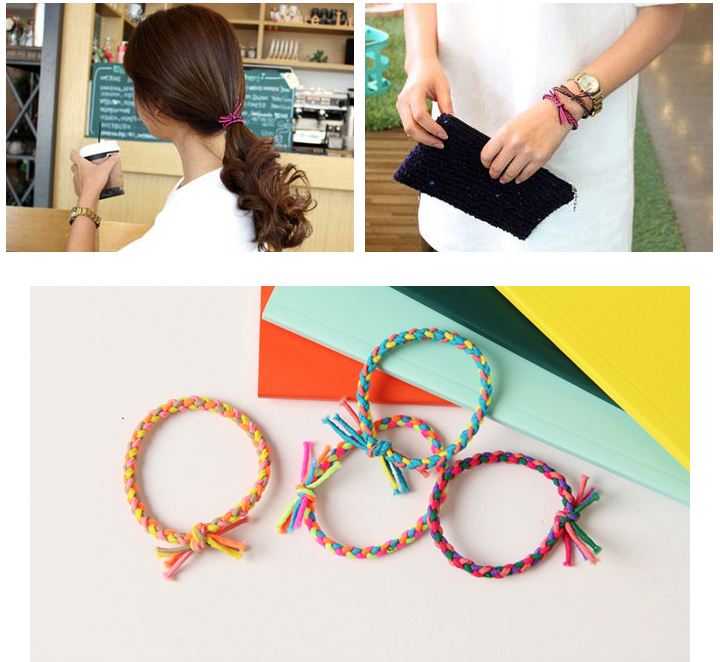 Five leave settling GOM colorful braid coloured hair tie ladies kids scrunchie  bracelet hair accessories fashion accessories   80519f68d7a
