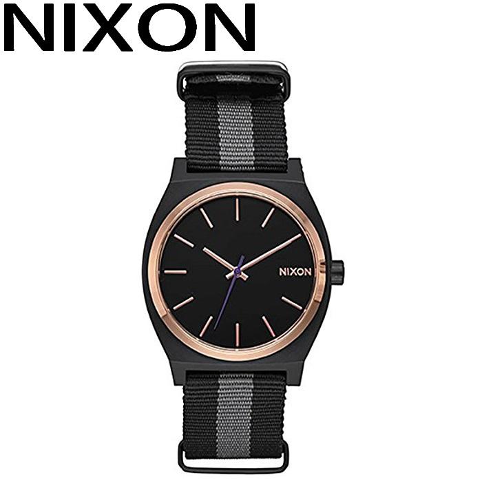 ニクソン NIXON タイムテラー時計 腕時計 メンズ レディース ユニセックスローズゴールド ブラック ナイロンストラップ A045-2453