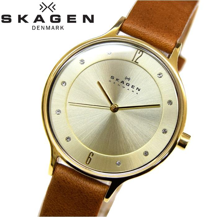 スカーゲン SKAGEN時計 腕時計 レディースレザー ブラウン ゴールド SKW2147【ID】