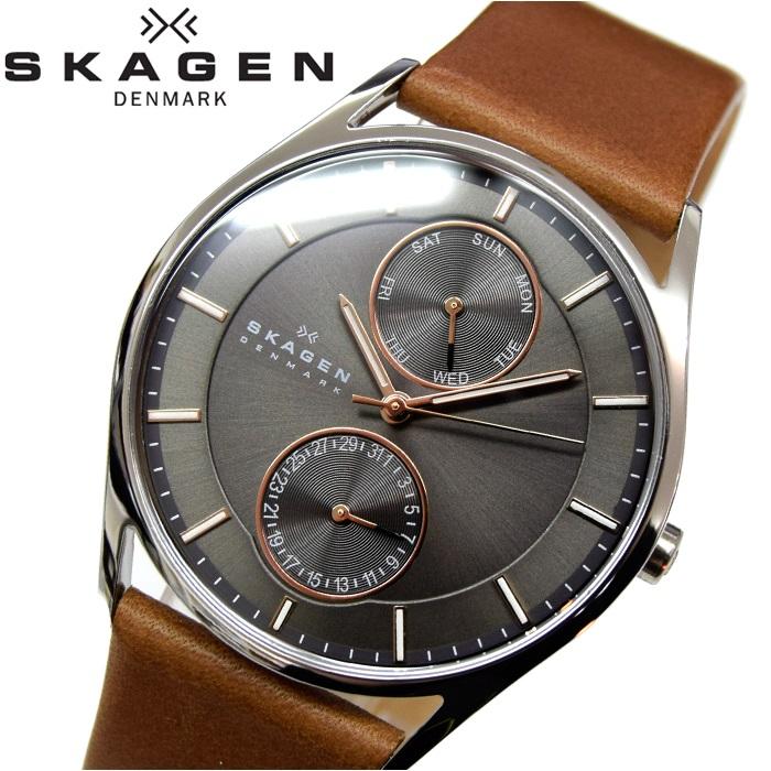 スカーゲン SKAGEN時計 腕時計 メンズレザー ブラウン ピンクゴールド SKW6086【ID】