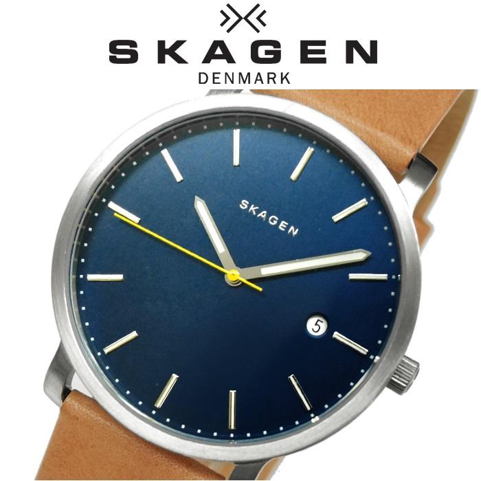 スカーゲン SKAGEN時計 腕時計 メンズ レディース ユニセックスレザー ブルーシルバー ブラウン SKW6279