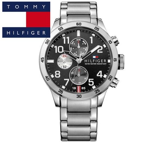 【73】TOMMY HILFIGER トミーヒルフィガー メンズ 時計 【1791141】シルバー ブラック