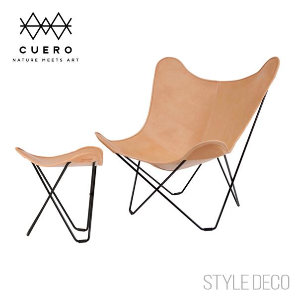 UNITERSレザーケアシートプレゼント!cuero クエロ BKF Chair + フットレスト SETバタフライチェア スツール(ナチュラルレザー ヌメ革)サイズ/W850×D850×H900mm,W460×D460×H420mmフレーム:スチール 原産国:スエーデン