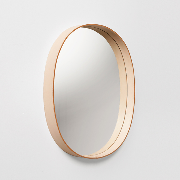 Moheim モヘイム Leather Frame Wall Mirror Oval Natural Black No