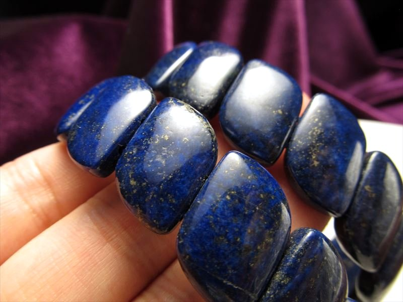 アフガン産 濃い群青 Mサイズ 新入荷 流行 期間限定で特別価格 ラピスラズリ 青金石 縦横約17.5mm バングルブレスレット ウェーブマーキス型 アフガニスタン産