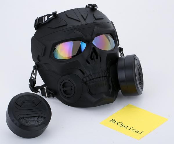 Broptical ガッツ ランキングTOP10 贈答 スカル スケルトン ガスマスク 型 マスク フルフェイス サバゲー くもり防止ファン搭載 黒 フルフェイスゴーグル