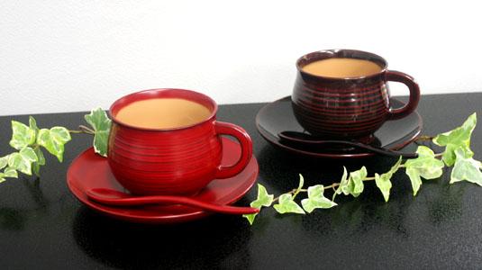 千筋コーヒー椀皿(スプーン付) 溜・銀朱内クリーム 2客組天然木・漆塗り【送料無料】【名いれ】【ペア】