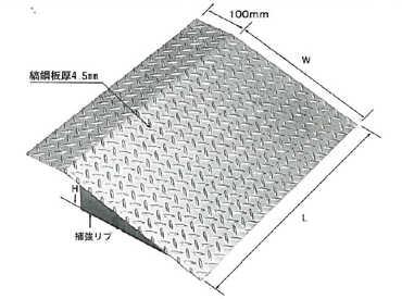 【法山本店】 縞鋼板製歩道上り HSL-1000-15 適用段差:150mm 適用耐荷重:乗用車用