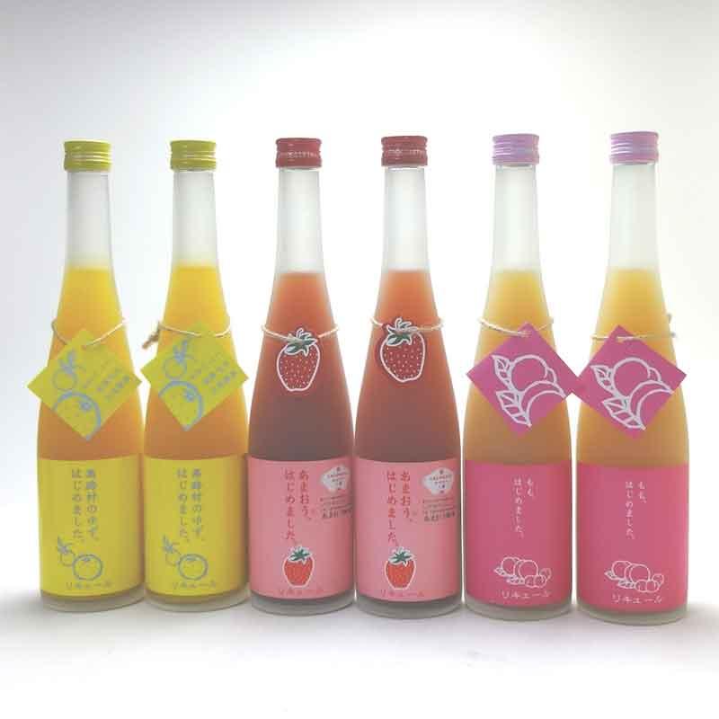 篠崎果物梅酒6本セット もも梅酒2本 りんご梅酒 ゆず梅酒2本 あまおう梅酒2本 ( 福岡県 )500ml×6本