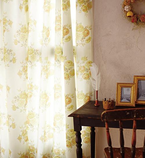 キレイめカーテン 光沢感のある花柄が上品なオーダーカーテン NEW ホワイト ベージュ ブルーム Bloom 店 ブルー ピンク