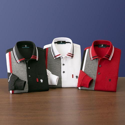 彩香 サルーンエクスプレス 切替長袖ポロシャツ AS-0011 1セット(3枚:3色同サイズ×各1枚)