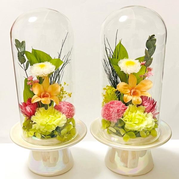 豪華な 花本来の美しさを備えた仏花です 開店祝い プリザーブドフラワー 仏花 花鈴 2ヶ1対 ガラスドーム仏花