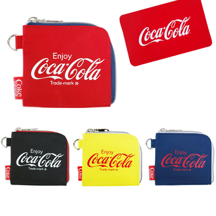 Coca-Cola nylon L-form fastener coin case COCA COLA coin purse Lady's men  unisex outdoor OUTDOOR casual popular stylish school excursion trip gift