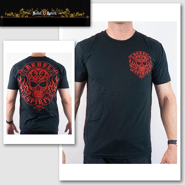 新作【Rebel Spirit/レベルスピリット】レッドスカル刺繍Tシャツ(ブラック・BLK)メンズ【送料無料】合わせやすい定番人気カラーのブラックにレッドの刺繍が◎ スカルとロゴの人気モチーフです!【セレカジ】【正規品】