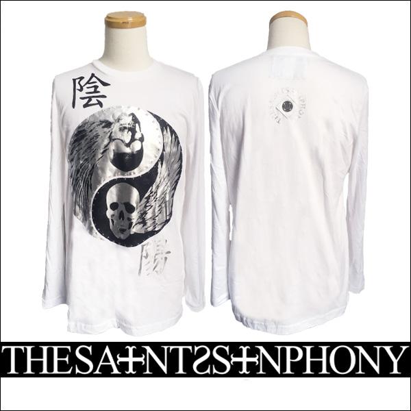 新作【THE SAINTS SINPHONY/セインツシンフォニー】YIN Tシャツ(長袖・ホワイト・WHT)メンズ【送料無料】スカル×ジャパニーズテイストのデザインがCOOL!ホワイトベースにブラック×シルバープリントがカッコイイ!【インポート】【正規品】