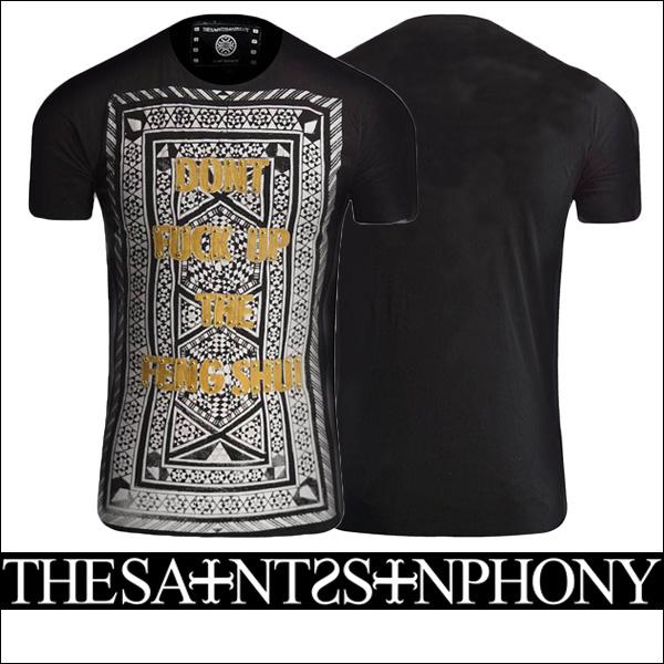 新作【THE SAINTS SINPHONY/セインツシンフォニー】FENG SHUI・Tシャツ(半袖・CREWネック・ブラック・BLK)メンズ【送料無料】モノトーンの大きなプリントにイエローのメッセージがカッコイイ!シンプルなフロントのみのデザインです!【インポート】【セレカジ】【正規品】