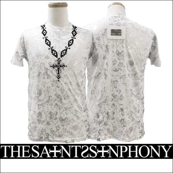 新作【THE SAINTS SINPHONY/セインツシンフォニー】STYLE2706・Tシャツ(半袖・CREWネック・ホワイト・WHT)メンズ【送料無料】シルバーのパターンプリントがカッコイイ!ブラックのスタッズで描かれたネックレスもCOOL!【インポート】【セレカジ】【正規品】