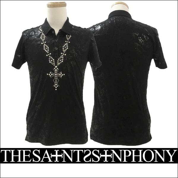 新作【THE SAINTS SINPHONY/セインツシンフォニー】STYLE2707 ポロシャツ(半袖・ブラック・BLK)メンズ【送料無料】ブラックにブラックでプリントされたパターンがカッコイイ!クロスネックレスをスタッズで描いています!【インポート】【セレカジ】【正規品】