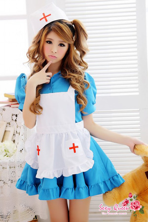 Puffy nipples straining cosplay nurse outfit nurse cosplay white blue nurse light blue nurse Cap white costume cosplay costume and cosplay costume women Halloween costumes