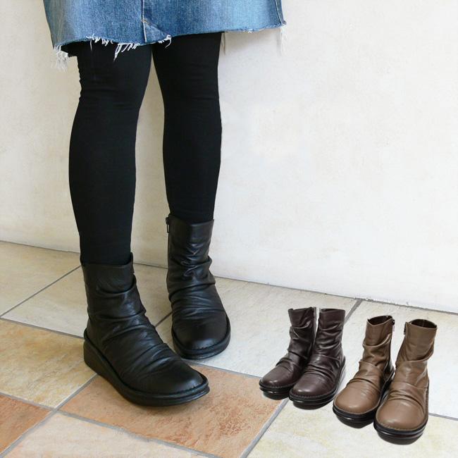 コンフォートシューズ 日本製 本革 正規品送料無料 黒 幅広 3E ショートブーツ In クシュッと FOO-SP-8209 H5.0 品良く履きたいショートブーツ歩きやすい靴 Cholje 年中無休 インコルジェ だから 思いっきり履きやすい